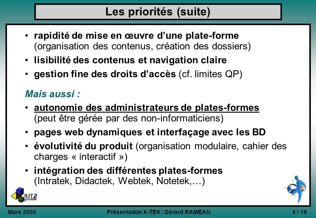 4 / 19Présentation X-TEK / Gérard RAMEAU Mars 2005 Les priorités (suite) rapidité de mise en œuvre dune plate-forme (organisation des contenus, créati