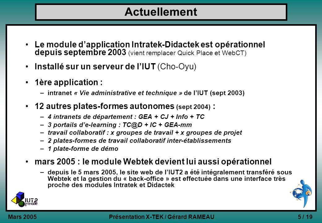 5 / 19Présentation X-TEK / Gérard RAMEAU Mars 2005 Actuellement Le module dapplication Intratek-Didactek est opérationnel depuis septembre 2003 (vient