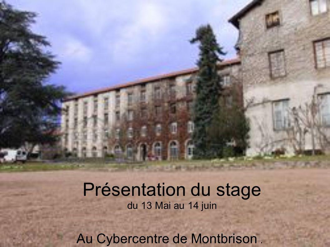 Présentation du stage du 13 Mai au 14 juin Au Cybercentre de Montbrison.