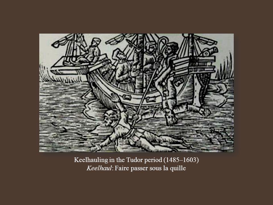 Keelhauling in the Tudor period (1485–1603) Keelhaul: Faire passer sous la quille