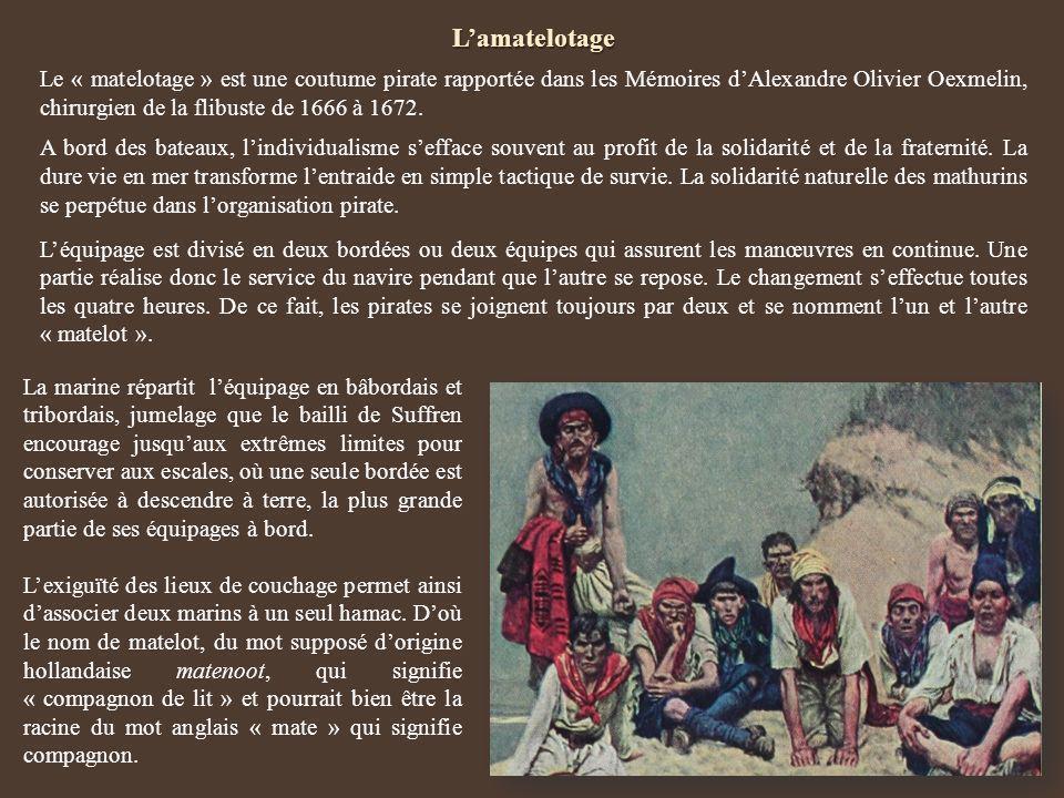 Lamatelotage Le « matelotage » est une coutume pirate rapportée dans les Mémoires dAlexandre Olivier Oexmelin, chirurgien de la flibuste de 1666 à 167