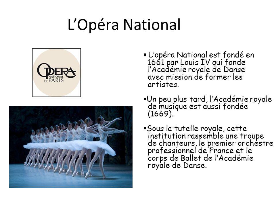 LOpéra National Lopéra National est fondé en 1661 par Louis IV qui fonde lAcadémie royale de Danse avec mission de former les artistes. Un peu plus ta