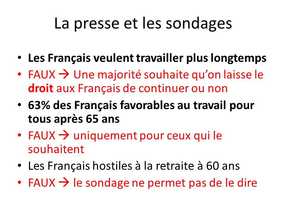 La presse et les sondages Les Français veulent travailler plus longtemps FAUX Une majorité souhaite quon laisse le droit aux Français de continuer ou