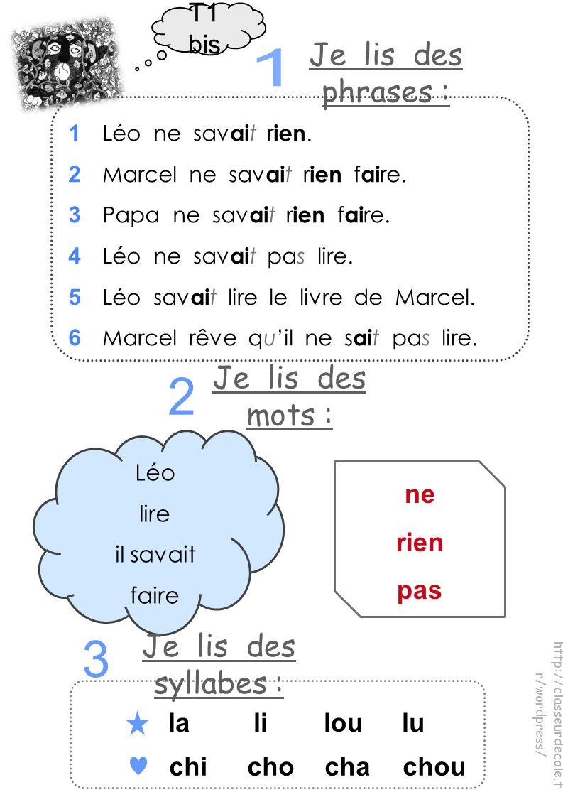 T1 bis Je lis des phrases : Léo lire il savait faire ne rien pas la li loulu chichochachou http://classeurdecole.f r/wordpress/ Je lis des mots : Je lis des syllabes : 1 Léo ne sav ai t r ien.