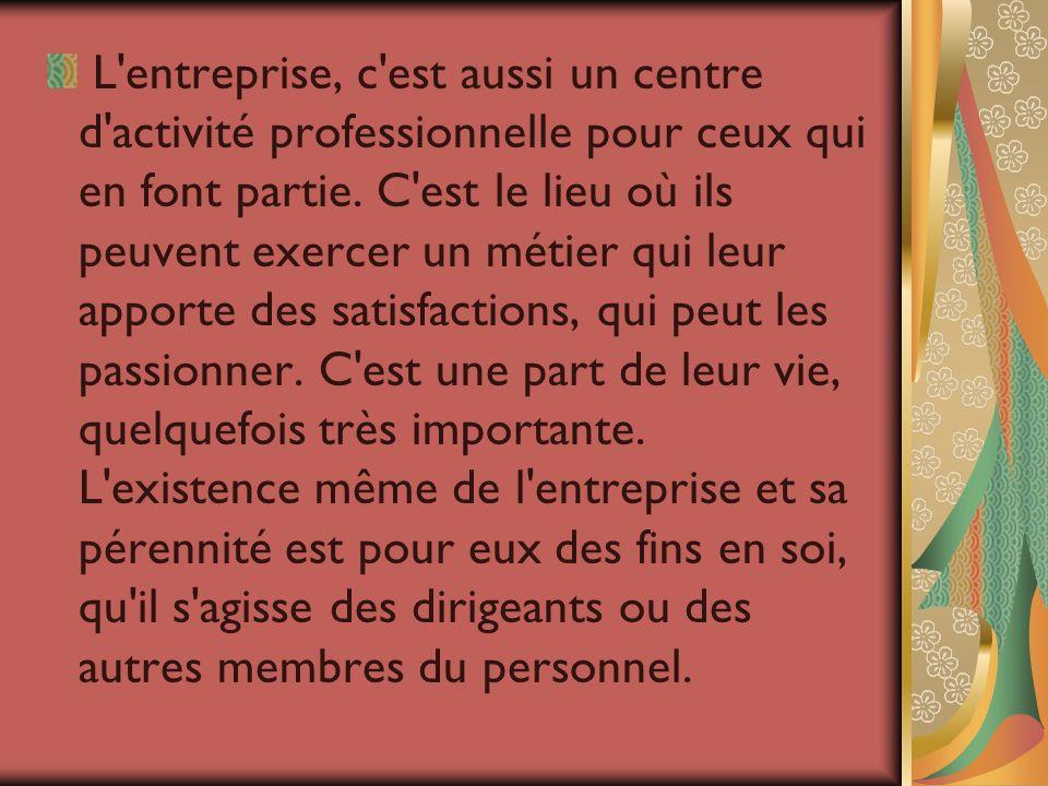 L'entreprise, c'est aussi un centre d'activité professionnelle pour ceux qui en font partie. C'est le lieu où ils peuvent exercer un métier qui leur a
