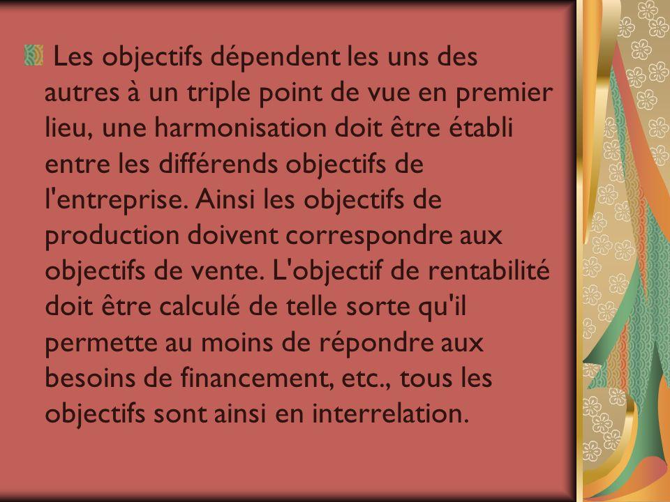 Les objectifs dépendent les uns des autres à un triple point de vue en premier lieu, une harmonisation doit être établi entre les différends objectifs
