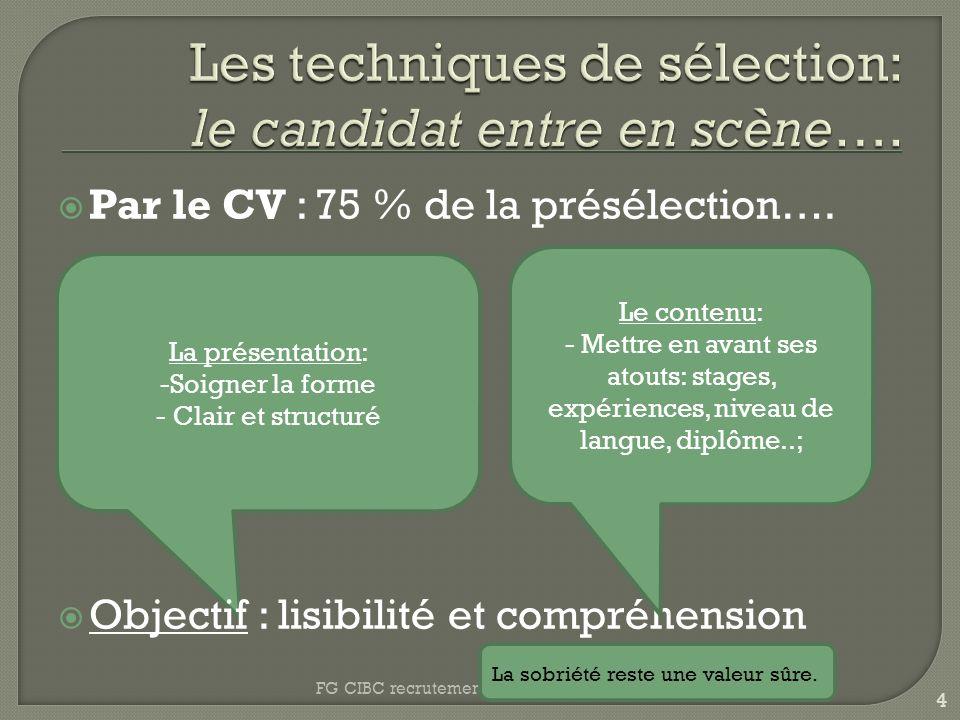 La présentation: -Soigner la forme - Clair et structuré Par le CV : 75 % de la présélection….