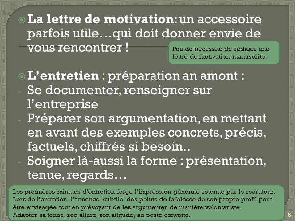 La lettre de motivation: un accessoire parfois utile…qui doit donner envie de vous rencontrer .