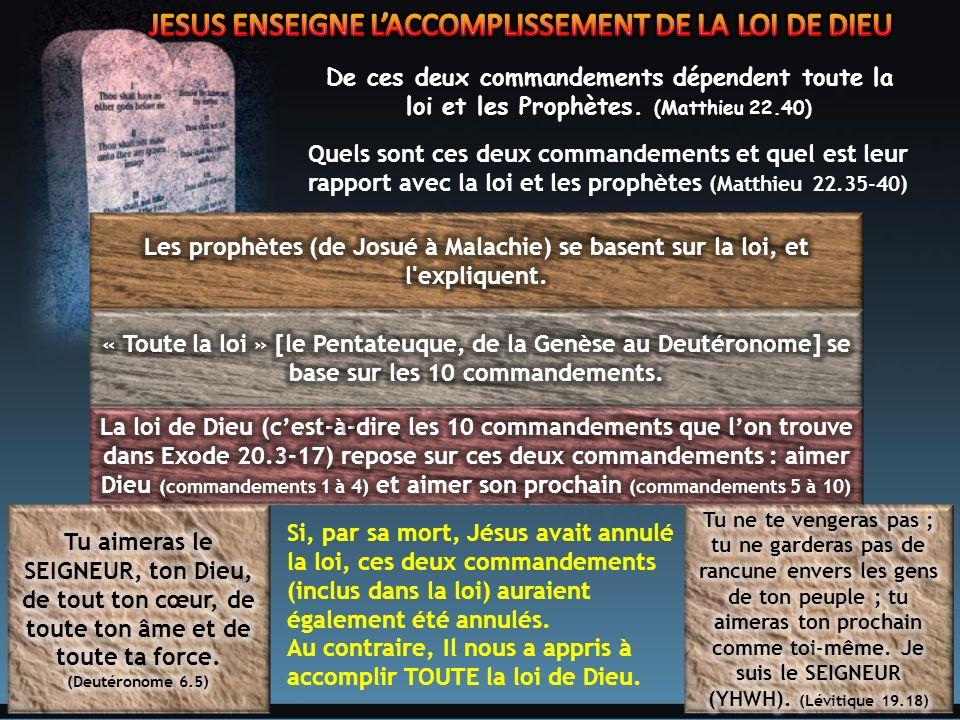 De ces deux commandements dépendent toute la loi et les Prophètes.