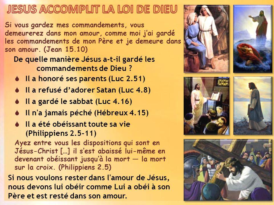Si vous gardez mes commandements, vous demeurerez dans mon amour, comme moi jai gardé les commandements de mon Père et je demeure dans son amour.