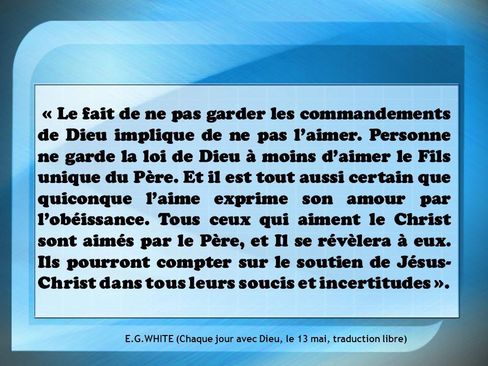 « Le fait de ne pas garder les commandements de Dieu implique de ne pas laimer.
