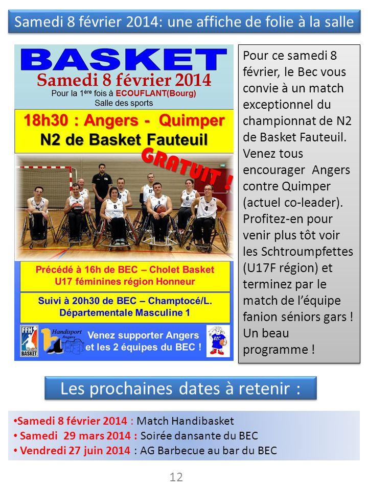 Les prochaines dates à retenir : 12 Samedi 8 février 2014 : Match Handibasket Samedi 29 mars 2014 : Soirée dansante du BEC Vendredi 27 juin 2014 : AG