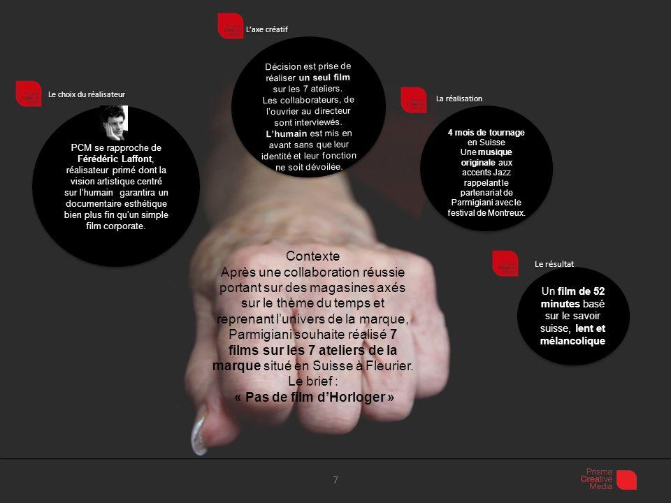 Diffusion 8 Le film sera visible sur le site Parmigiani le Fleurier: http://www.parmigiani.ch/fr Il présentera lunivers de la marque.