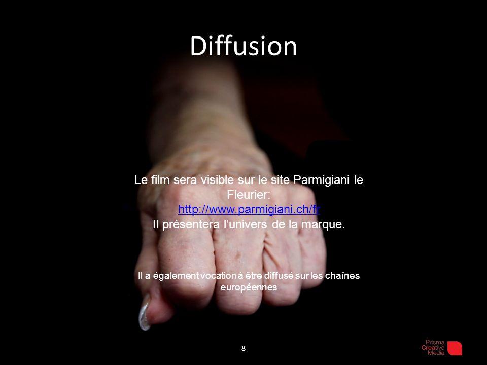 Diffusion 8 Le film sera visible sur le site Parmigiani le Fleurier: http://www.parmigiani.ch/fr Il présentera lunivers de la marque. Il a également v
