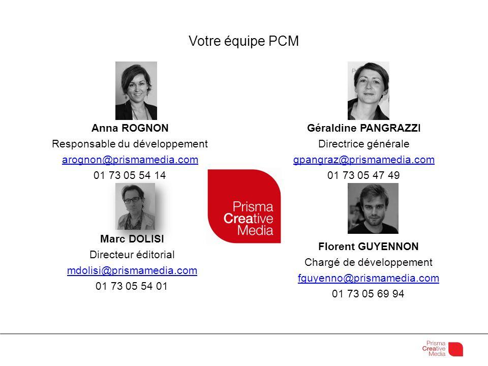 Votre équipe PCM Anna ROGNON Responsable du développement arognon@prismamedia.com 01 73 05 54 14 Florent GUYENNON Chargé de développement fguyenno@pri