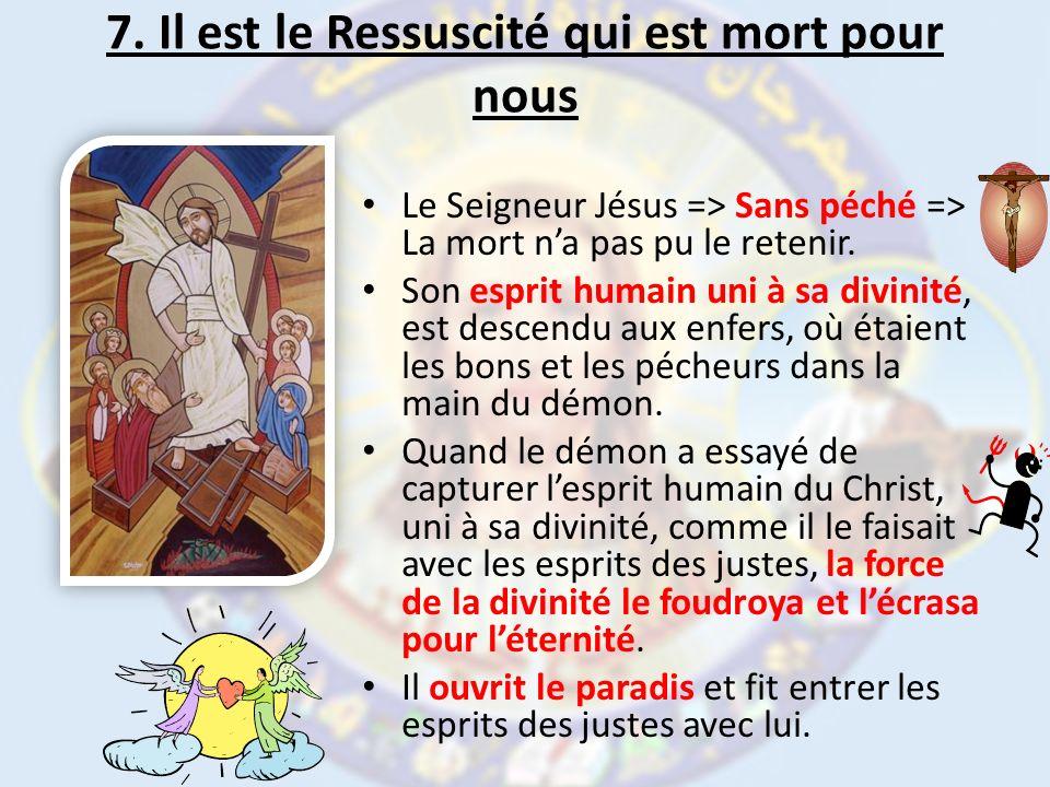 7. Il est le Ressuscité qui est mort pour nous Le Seigneur Jésus => Sans péché => La mort na pas pu le retenir. Son esprit humain uni à sa divinité, e