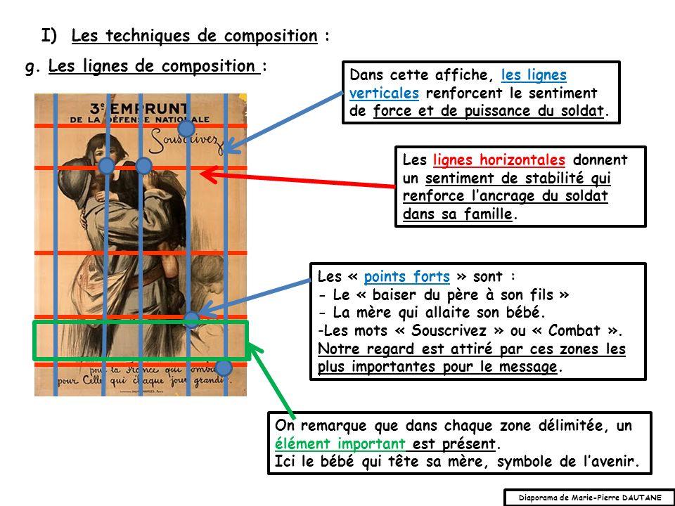 g. Les lignes de composition : I) Les techniques de composition : Les lignes horizontales donnent un sentiment de stabilité qui renforce lancrage du s