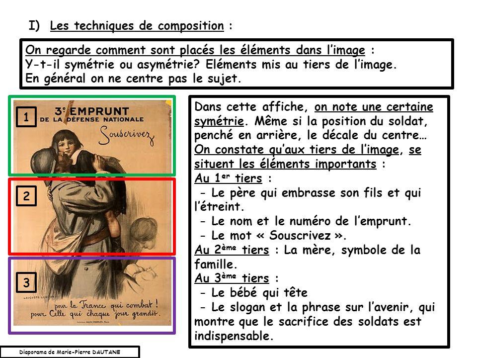 On regarde comment sont placés les éléments dans limage : Y-t-il symétrie ou asymétrie? Eléments mis au tiers de limage. En général on ne centre pas l