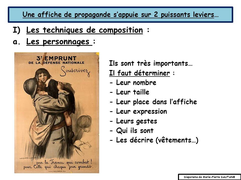 Une affiche de propagande sappuie sur 2 puissants leviers… I)Les techniques de composition : a.Les personnages : Ils sont très importants… Il faut dét