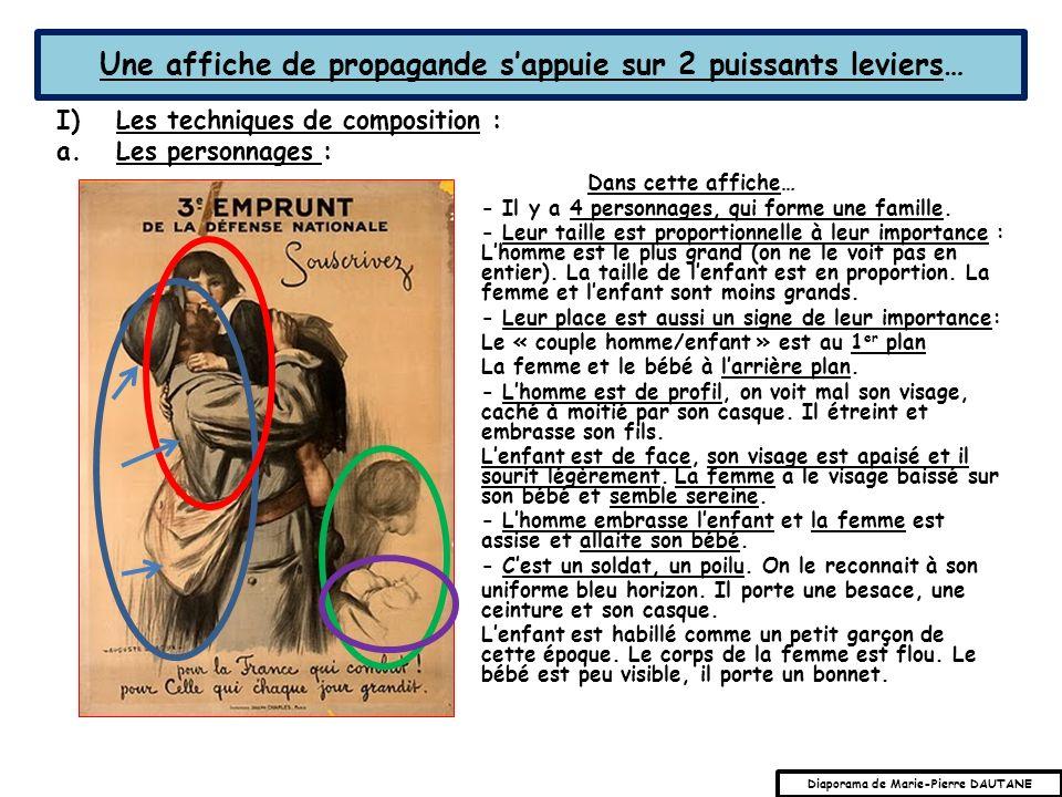 Une affiche de propagande sappuie sur 2 puissants leviers… I)Les techniques de composition : a.Les personnages : Dans cette affiche… - Il y a 4 personnages, qui forme une famille.