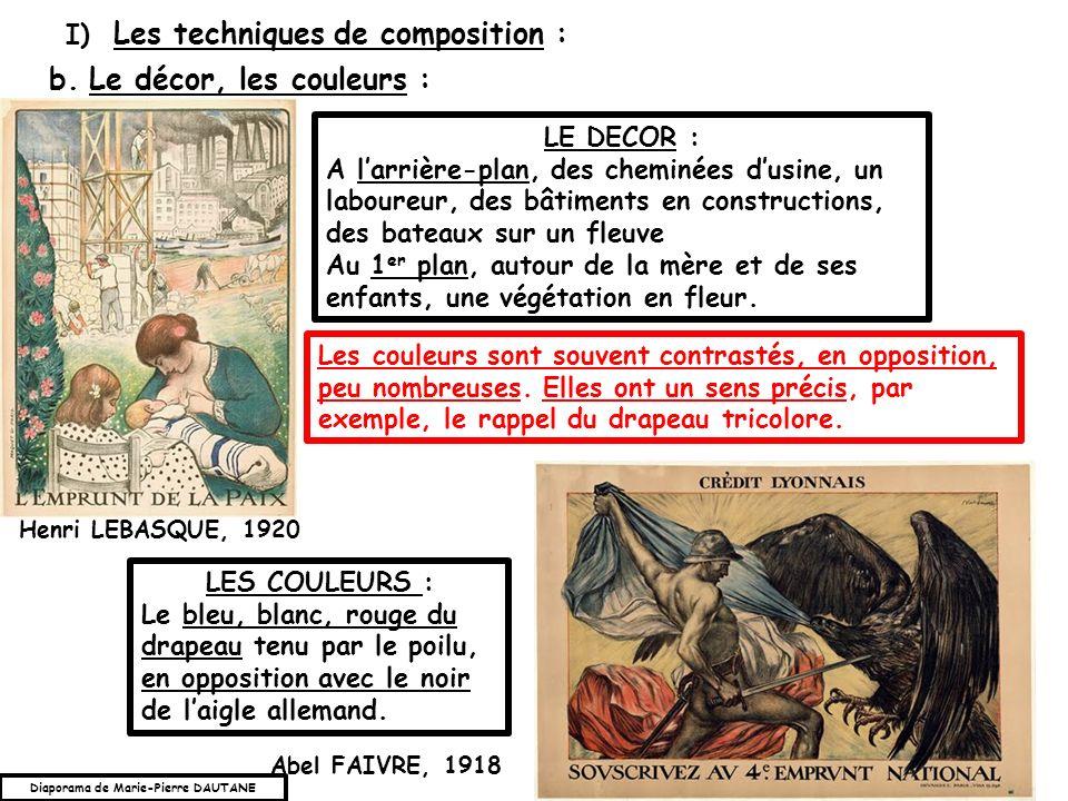I) Les techniques de composition : b.Le décor, les couleurs : LE DECOR : A larrière-plan, des cheminées dusine, un laboureur, des bâtiments en constru