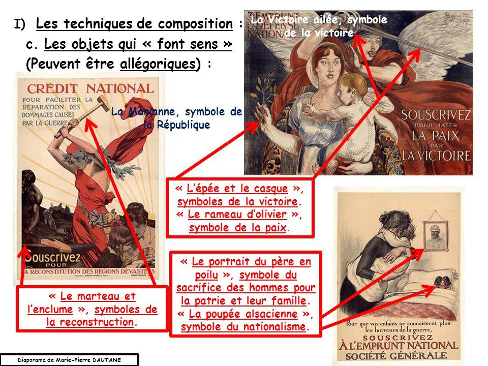 c.Les objets qui « font sens » (Peuvent être allégoriques) : I) Les techniques de composition : « Le marteau et lenclume », symboles de la reconstruction.