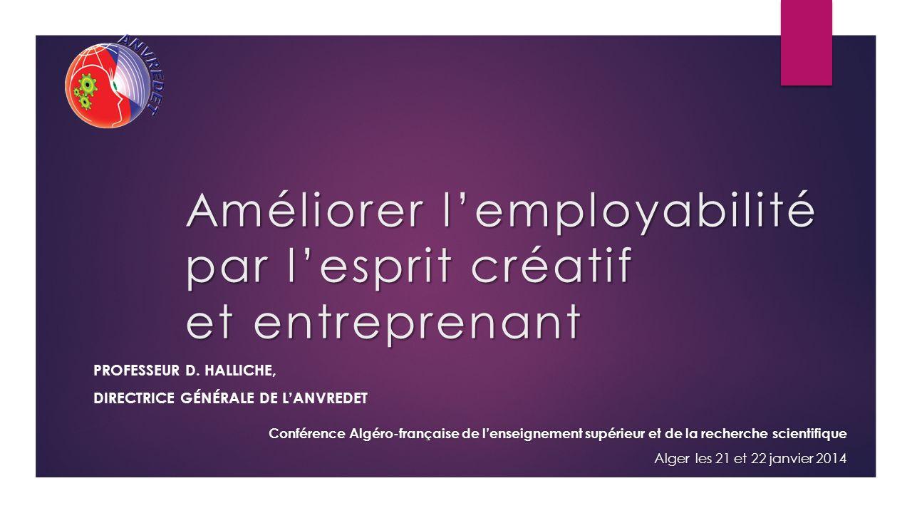 Améliorer lemployabilité par lesprit créatif et entreprenant PROFESSEUR D.