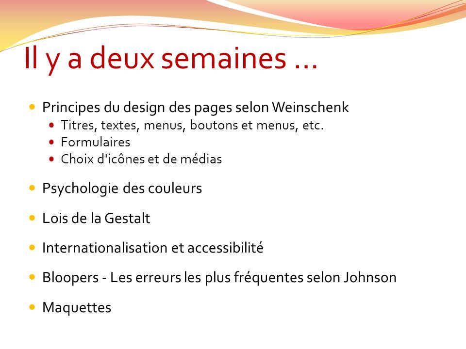 Il y a deux semaines … Principes du design des pages selon Weinschenk Titres, textes, menus, boutons et menus, etc.