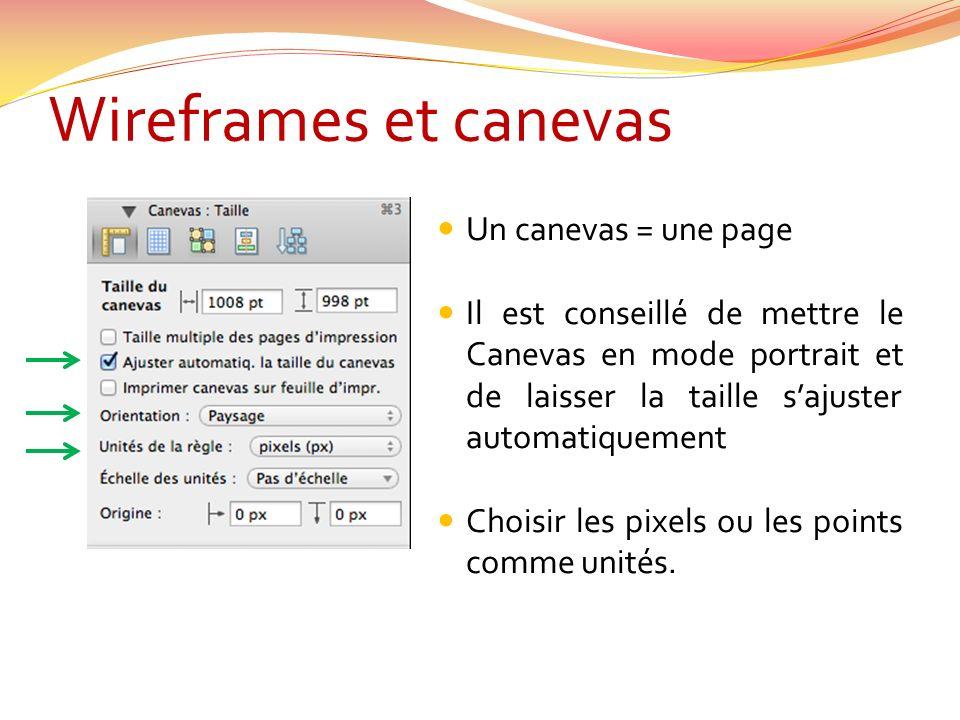 Wireframes et canevas Un canevas = une page Il est conseillé de mettre le Canevas en mode portrait et de laisser la taille sajuster automatiquement Choisir les pixels ou les points comme unités.