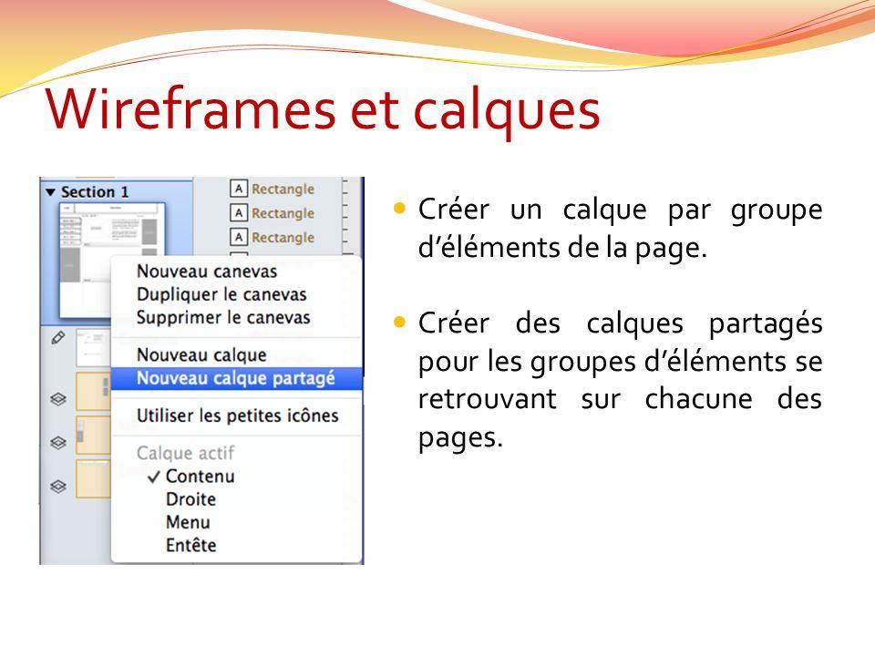 Wireframes et calques Créer un calque par groupe déléments de la page.