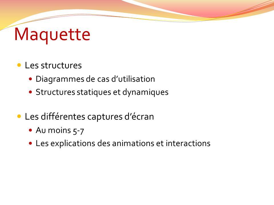 Maquette Les structures Diagrammes de cas dutilisation Structures statiques et dynamiques Les différentes captures décran Au moins 5-7 Les explications des animations et interactions
