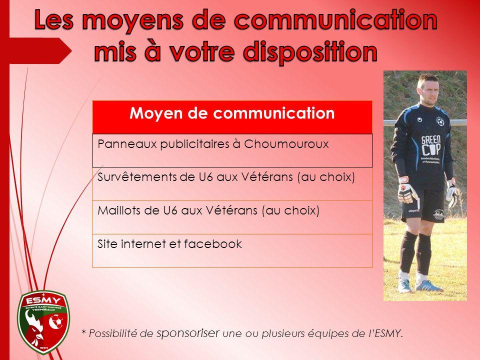 Moyen de communication Panneaux publicitaires à Choumouroux Survêtements de U6 aux Vétérans (au choix) Maillots de U6 aux Vétérans (au choix) Site int