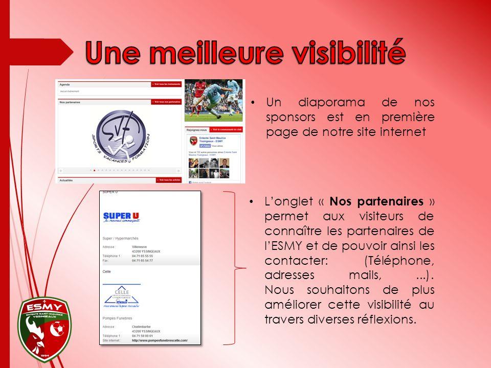 Un diaporama de nos sponsors est en première page de notre site internet Longlet « Nos partenaires » permet aux visiteurs de connaître les partenaires