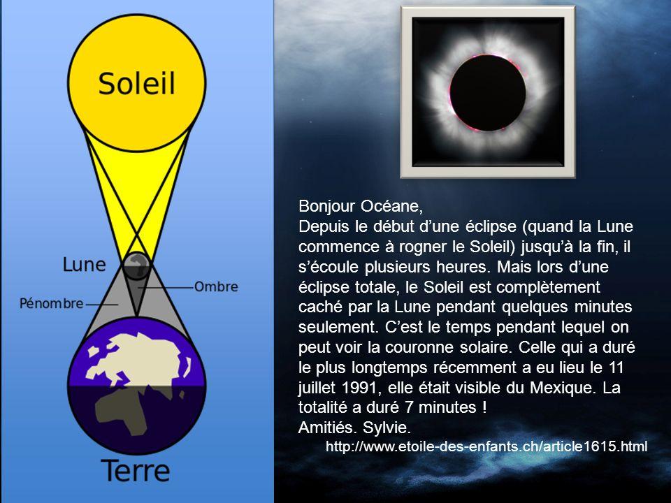 Bonjour Océane, Depuis le début dune éclipse (quand la Lune commence à rogner le Soleil) jusquà la fin, il sécoule plusieurs heures.
