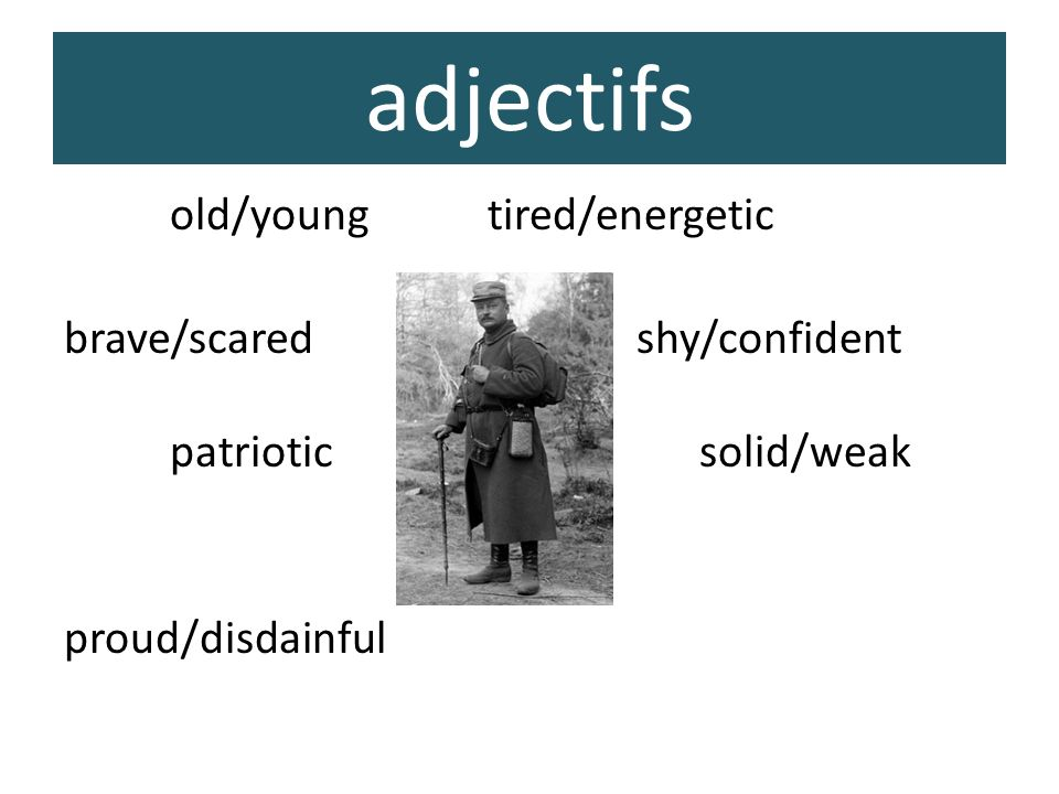 adjectifs old/youngtired/energetic brave/scared shy/confident patrioticsolid/weak proud/disdainful