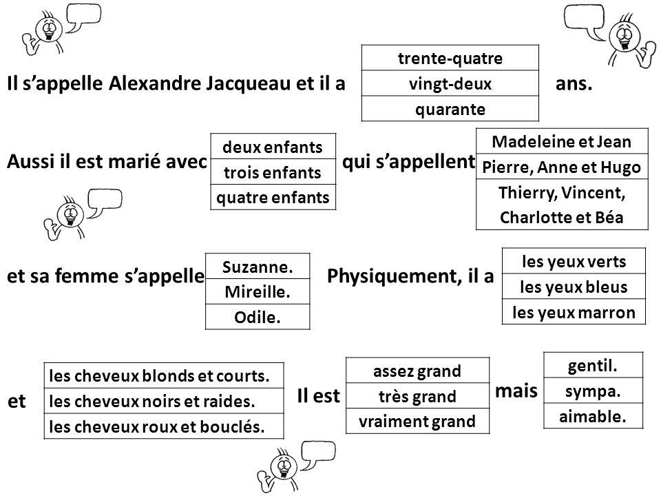 Madeleine et Jean Pierre, Anne et Hugo Thierry, Vincent, Charlotte et Béa Il sappelle Alexandre Jacqueau et il a ans. Aussi il est marié avec qui sapp