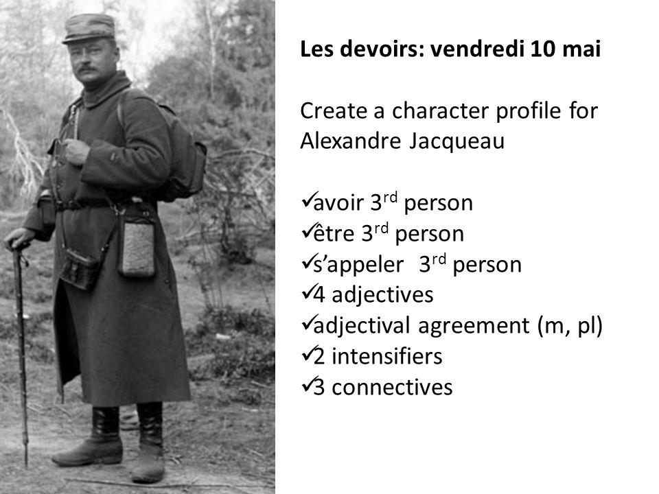 Les devoirs: vendredi 10 mai Create a character profile for Alexandre Jacqueau avoir 3 rd person être 3 rd person sappeler 3 rd person 4 adjectives ad