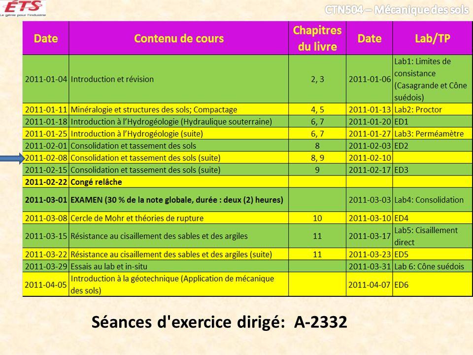 Séances d'exercice dirigé: A-2332