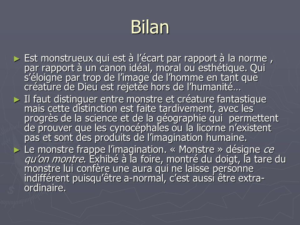 Bilan Est monstrueux qui est à lécart par rapport à la norme, par rapport à un canon idéal, moral ou esthétique.