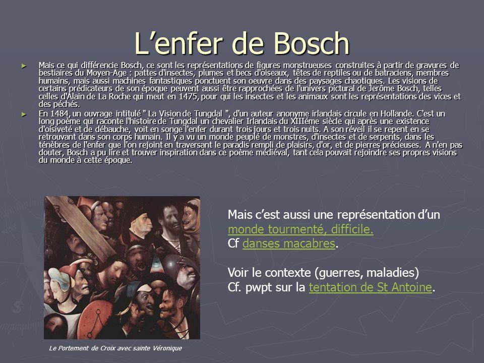 Lenfer de Bosch Mais ce qui différencie Bosch, ce sont les représentations de figures monstrueuses construites à partir de gravures de bestiaires du Moyen-Age : pattes d insectes, plumes et becs d oiseaux, têtes de reptiles ou de batraciens, membres humains, mais aussi machines fantastiques ponctuent son oeuvre dans des paysages chaotiques.