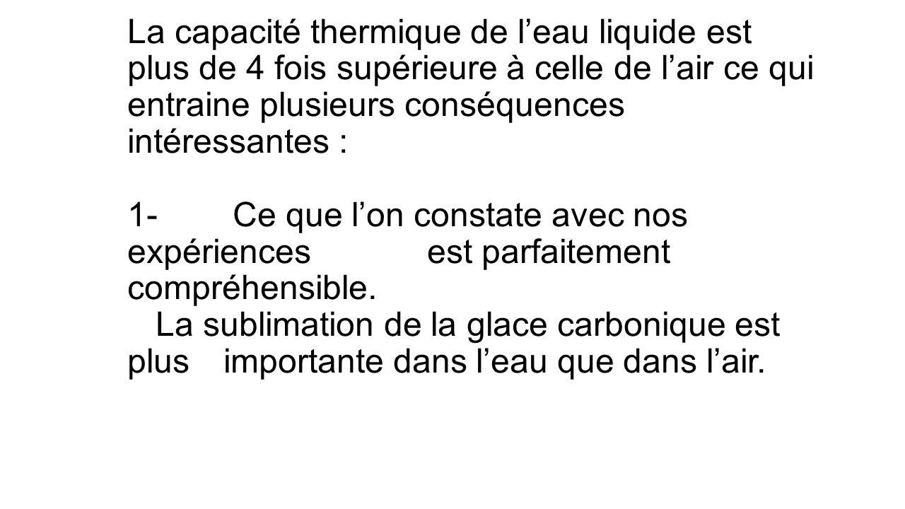 La capacité thermique de leau liquide est plus de 4 fois supérieure à celle de lair ce qui entraine plusieurs conséquences intéressantes : 1- Ce que lon constate avec nos expériences est parfaitement compréhensible.