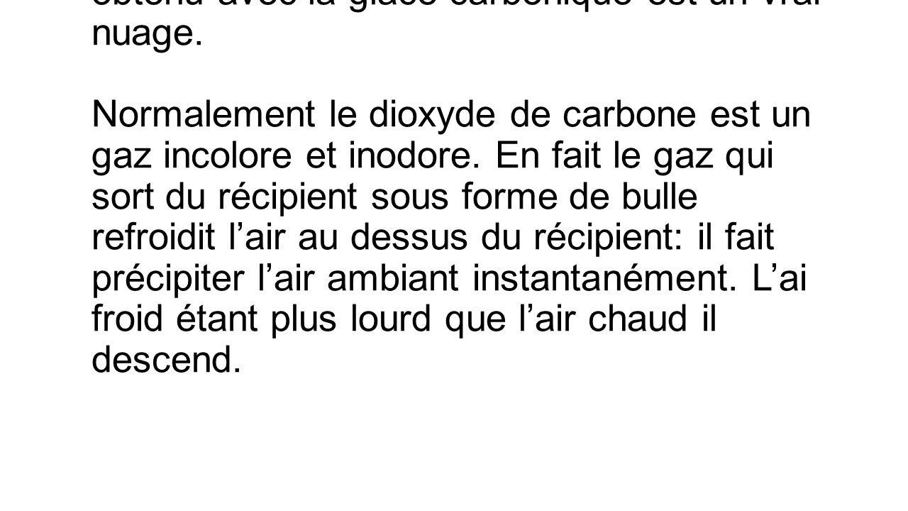 Remarque2: Le nuage que nous avons obtenu avec la glace carbonique est un vrai nuage.