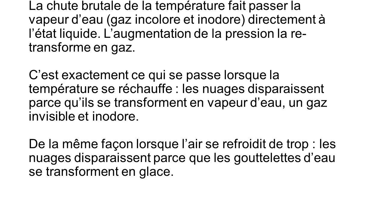 La chute brutale de la température fait passer la vapeur deau (gaz incolore et inodore) directement à létat liquide.