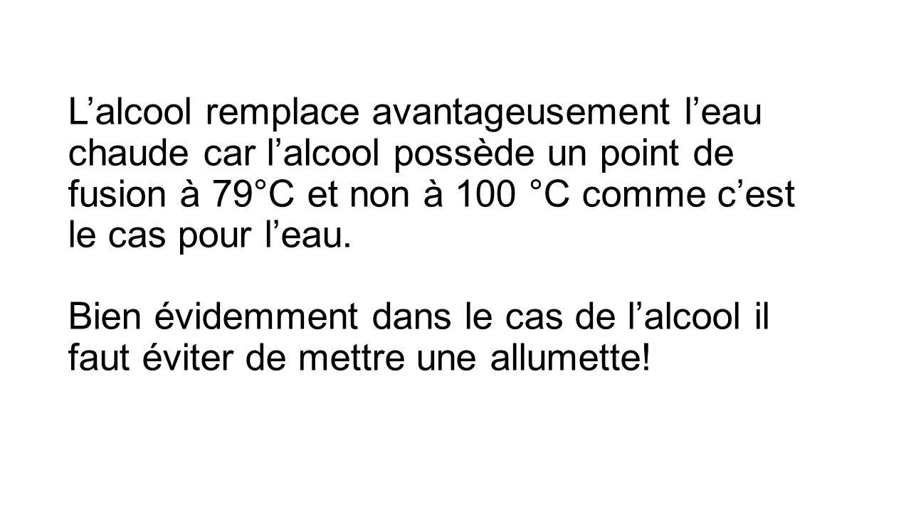 Lalcool remplace avantageusement leau chaude car lalcool possède un point de fusion à 79°C et non à 100 °C comme cest le cas pour leau.