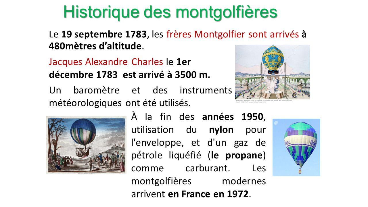 Historique des montgolfières Le 19 septembre 1783, les frères Montgolfier sont arrivés à 480mètres daltitude.