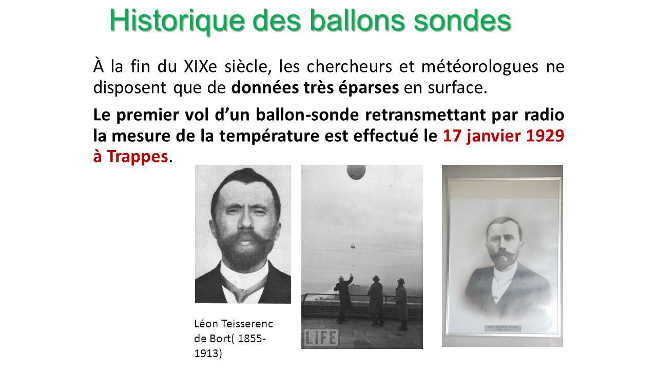 Historique des ballons sondes À la fin du XIXe siècle, les chercheurs et météorologues ne disposent que de données très éparses en surface.