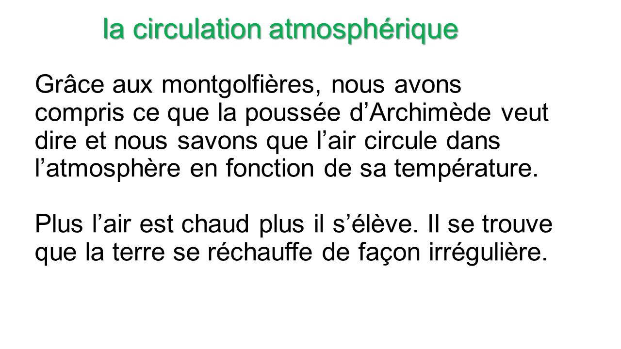 Grâce aux montgolfières, nous avons compris ce que la poussée dArchimède veut dire et nous savons que lair circule dans latmosphère en fonction de sa température.
