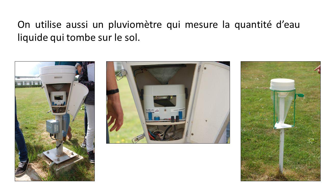 On utilise aussi un pluviomètre qui mesure la quantité deau liquide qui tombe sur le sol.