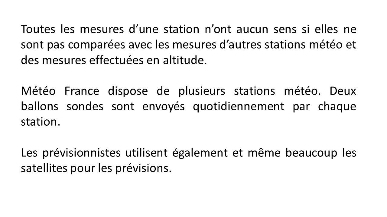 Toutes les mesures dune station nont aucun sens si elles ne sont pas comparées avec les mesures dautres stations météo et des mesures effectuées en altitude.