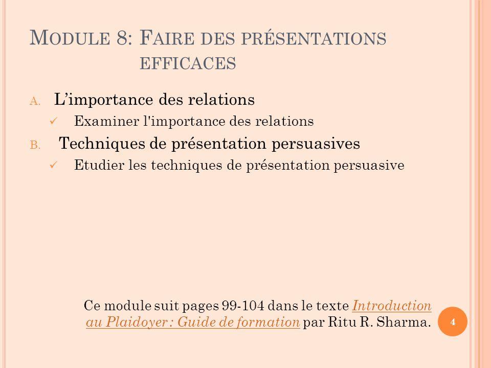 M ODULE 8: F AIRE DES PRÉSENTATIONS EFFICACES A. Limportance des relations Examiner l'importance des relations B. Techniques de présentation persuasiv